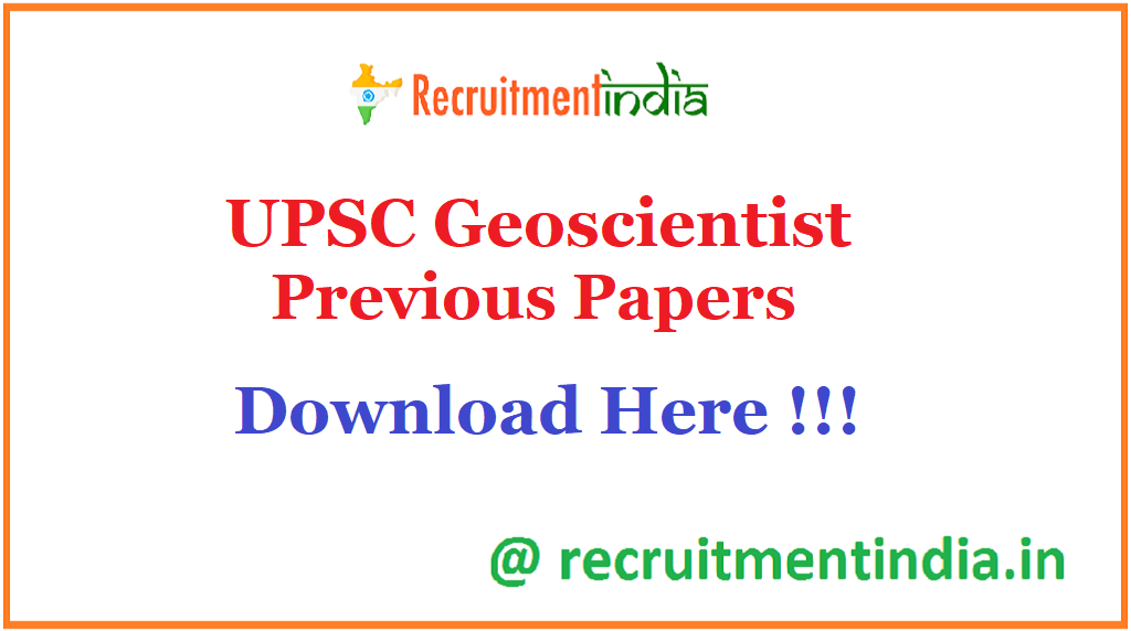 UPSC Geoscientist Previous Papers