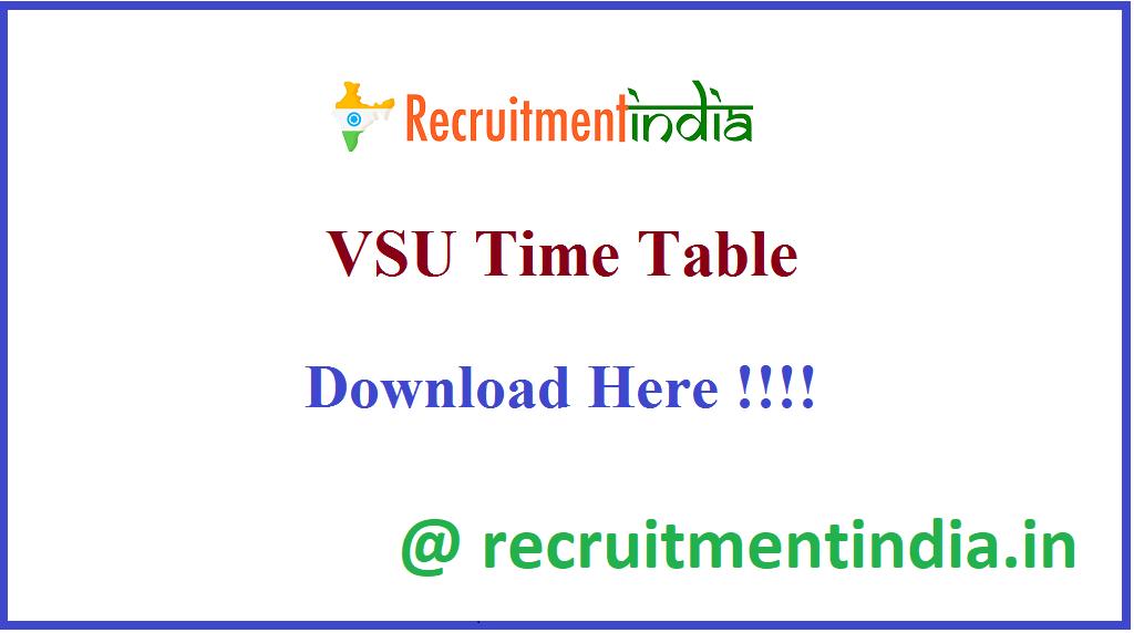 VSU Time Table