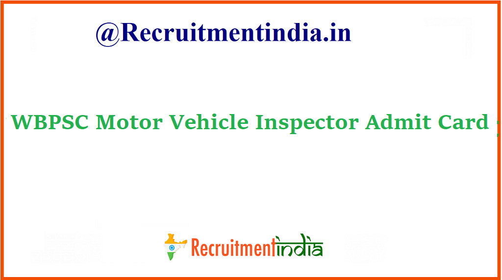 WBPSC Motor Vehicle Inspector Admit Card