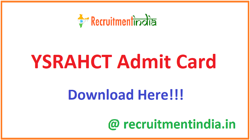 YSRAHCT Admit Card