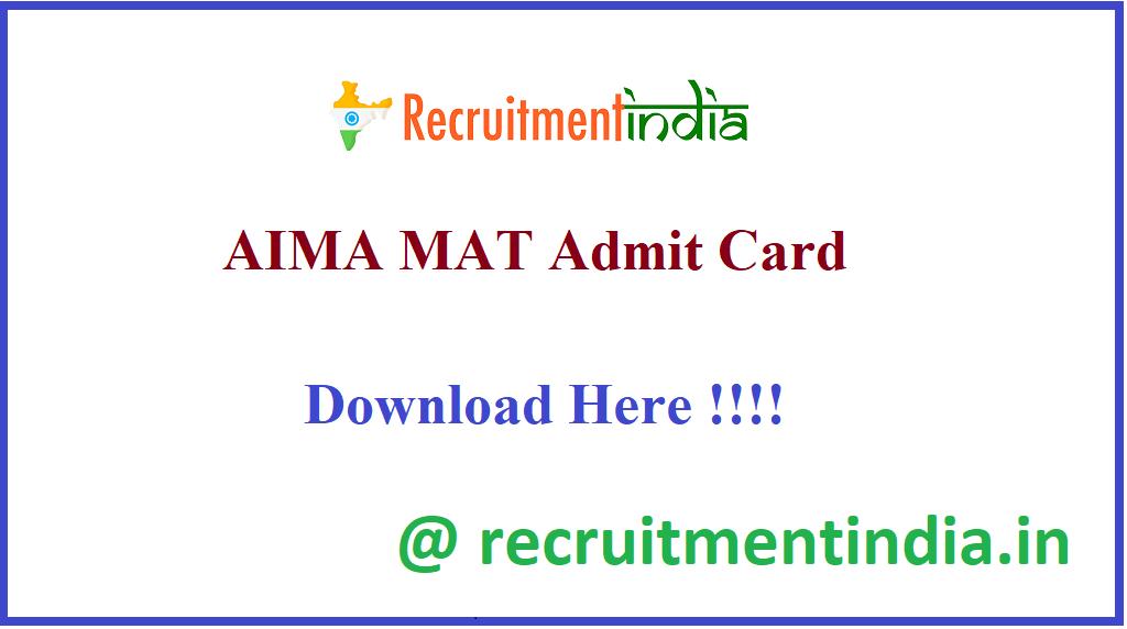AIMA MAT Admit Card