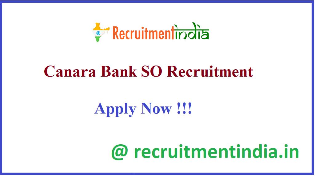 Canara Bank SO Recruitment