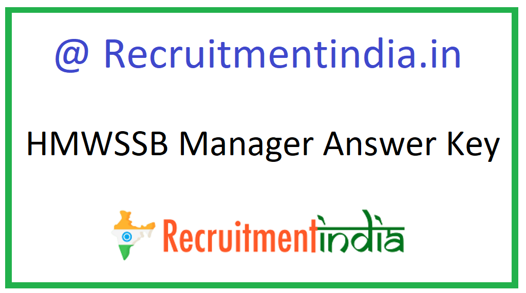 HMWSSB Manager Answer Key