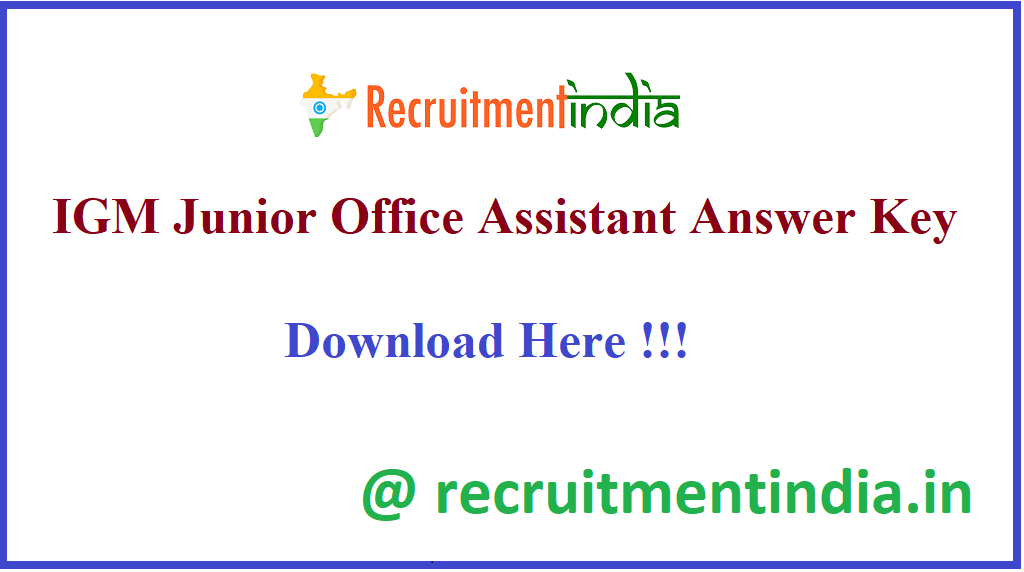 IGM Junior Office Assistant Answer Key
