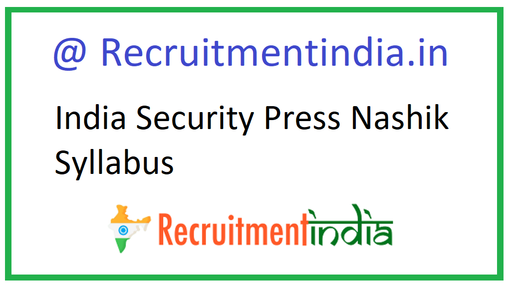India Security Press Nashik Syllabus