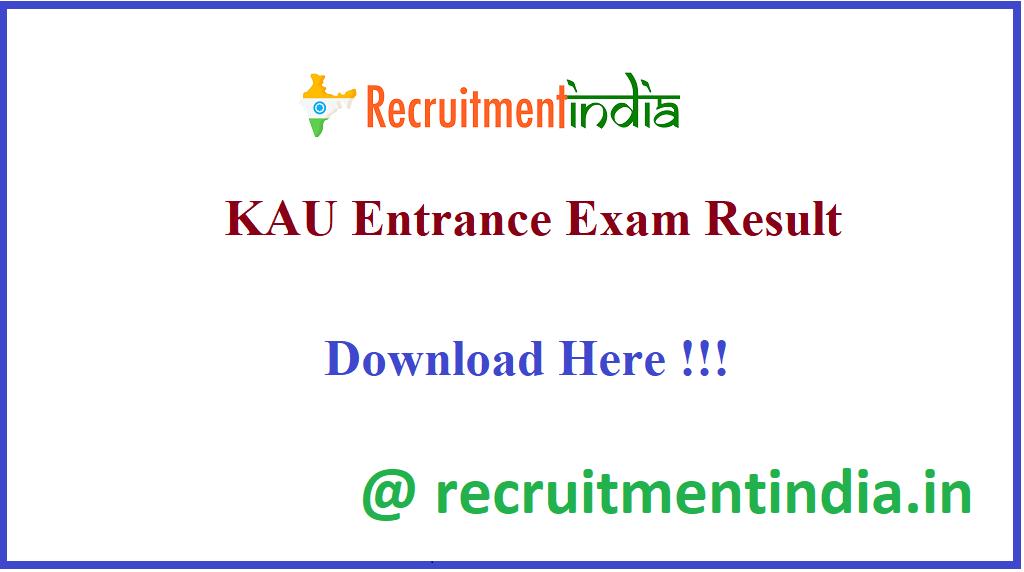 KAU Entrance Exam Result