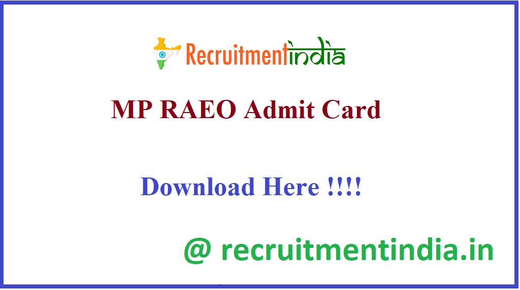 MP RAEO Admit Card
