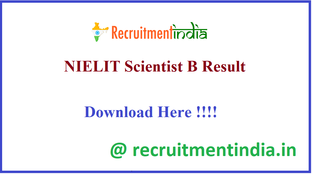 NIELIT Scientist B Result