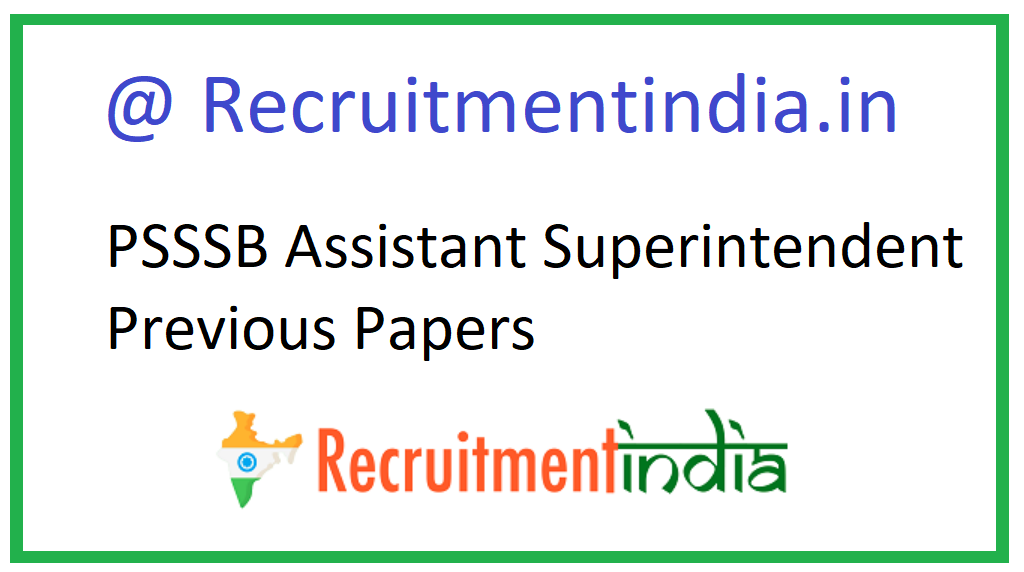 PSSSB Assistant Superintendent Previous Papers