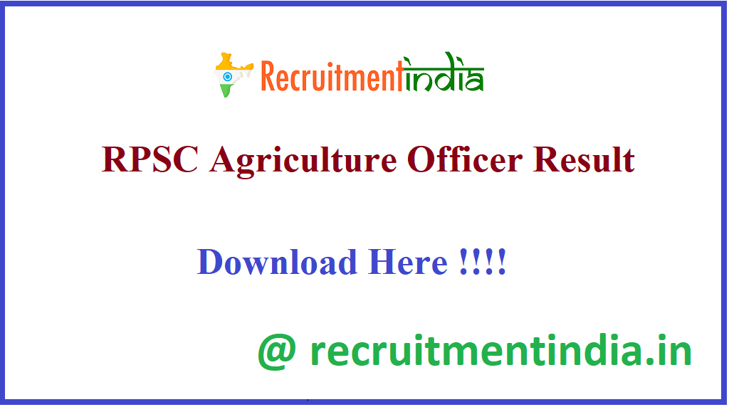 RPSC Agriculture Officer Result