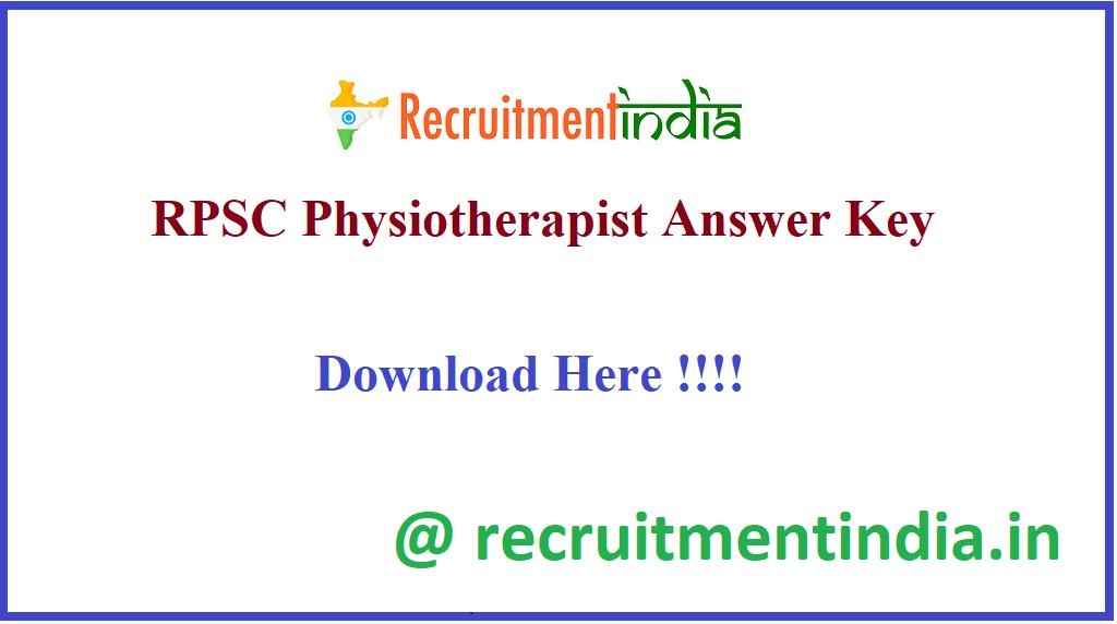 RPSC Physiotherapist Answer Key