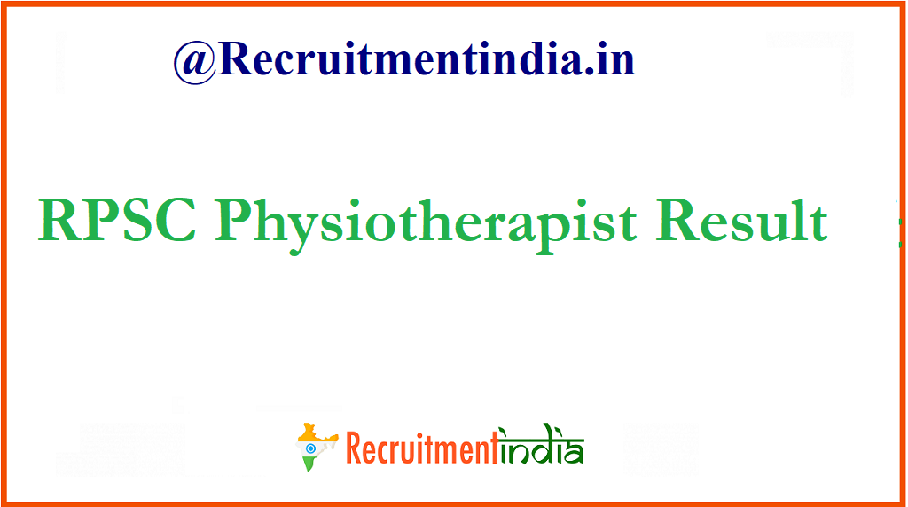 RPSC Physiotherapist Result