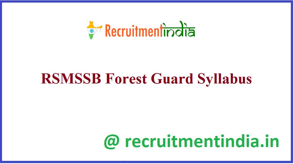 RSMSSB Forest Guard Syllabus