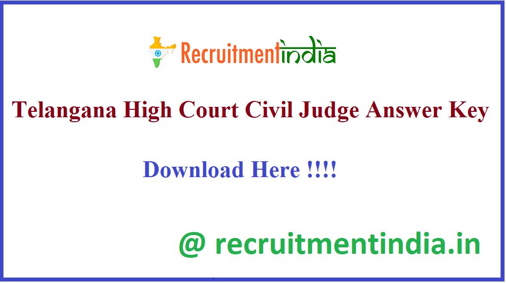 Telangana High Court Civil Judge Answer Key