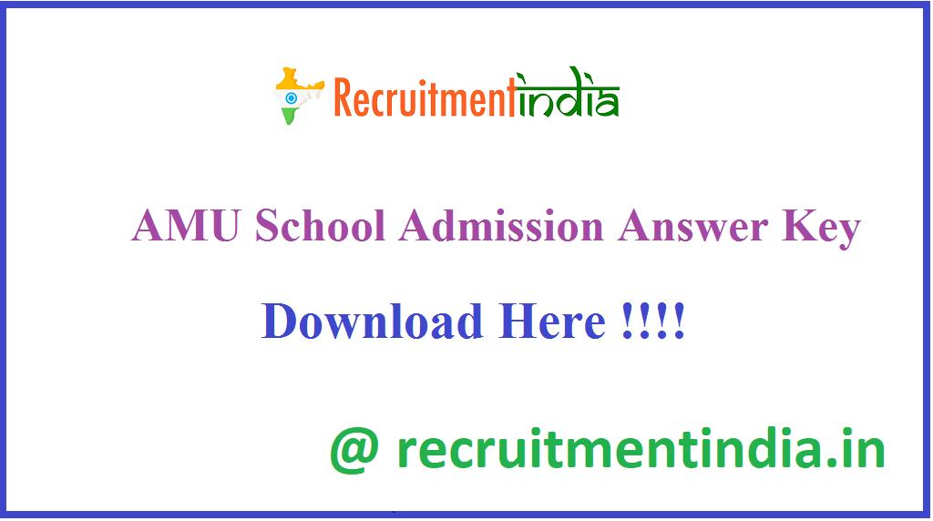 AMU School Admission Answer Key