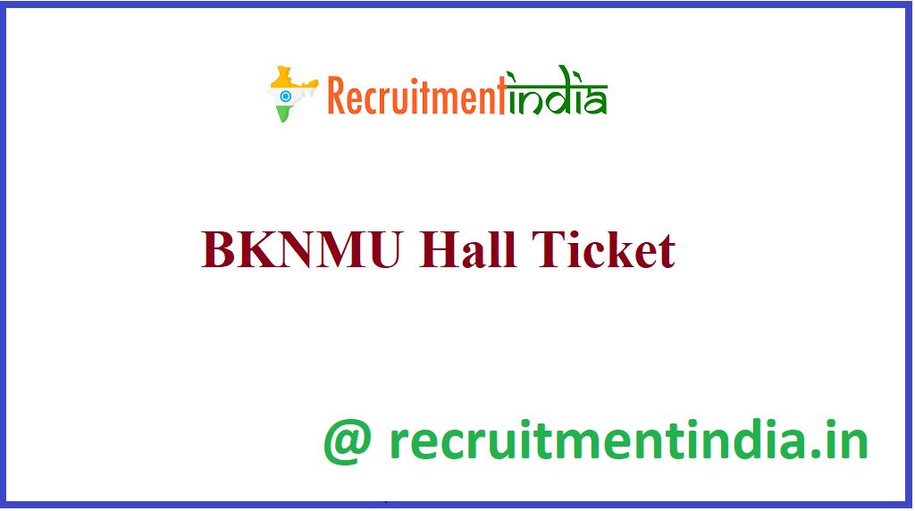 BKNMU Hall Ticket