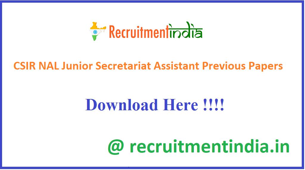 CSIR NAL Junior Secretariat Assistant Previous Papers