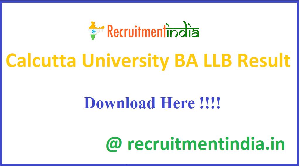 Calcutta University BA LLB Result