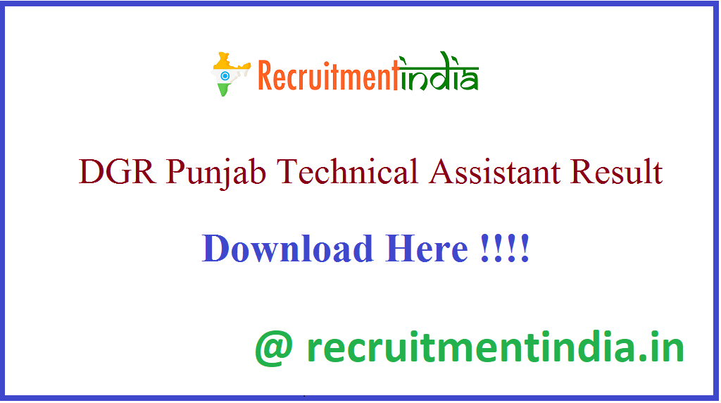 DGR Punjab Technical Assistant Result