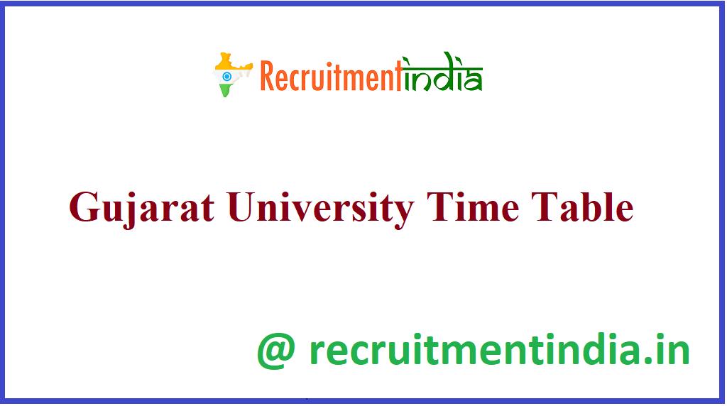 Gujarat University Time Table