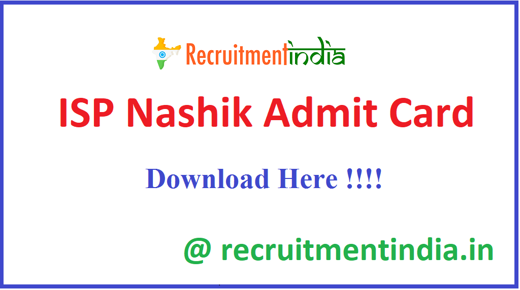 ISP Nashik Admit Card
