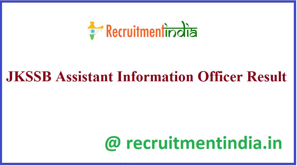 JKSSB Assistant Information Officer Result