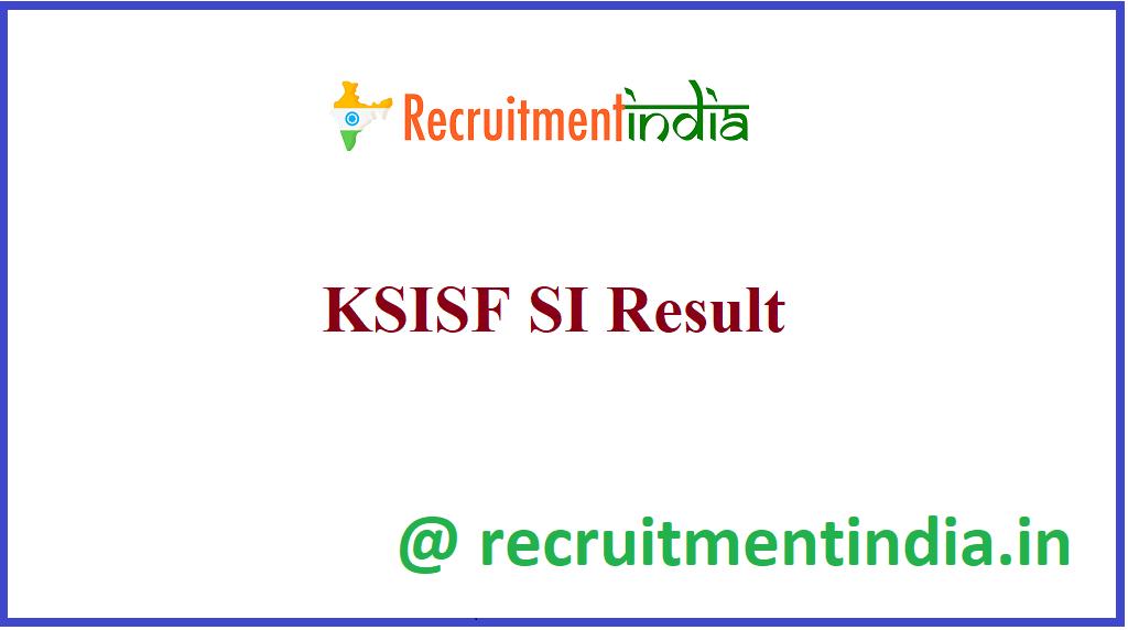 KSISF SI Result