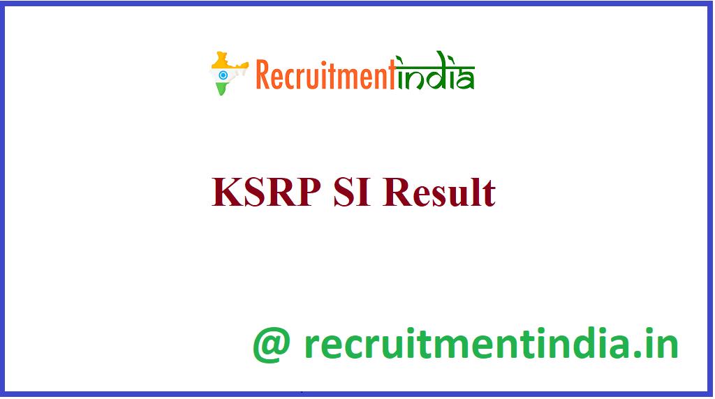 KSRP SI Result