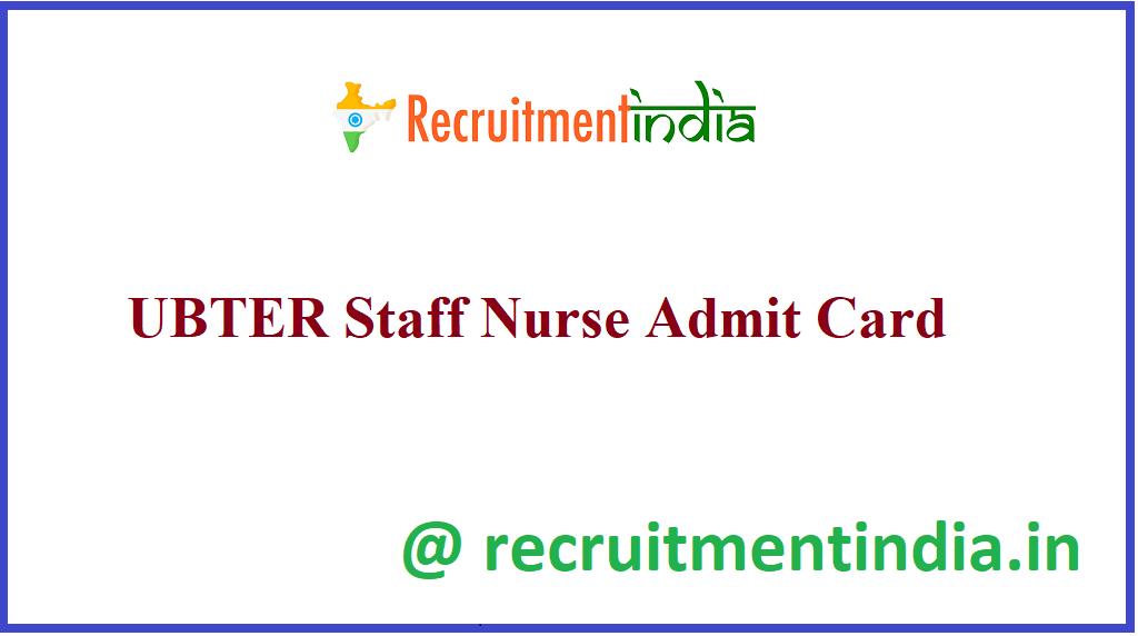 UBTER Staff Nurse Admit Card