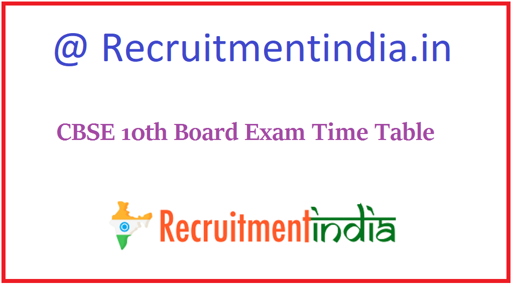 CBSE 10th Board Exam Time Table