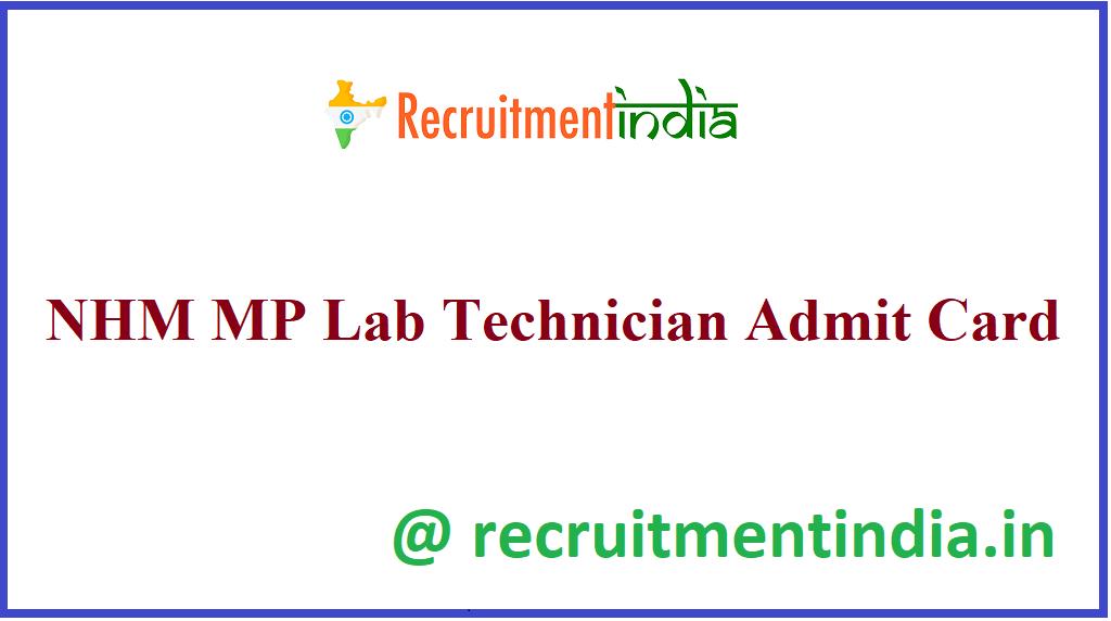 NHM MP Lab Technician Admit Card