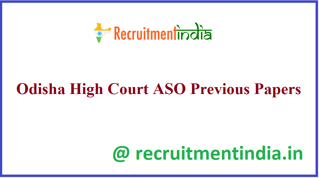Odisha High Court ASO Previous Papers