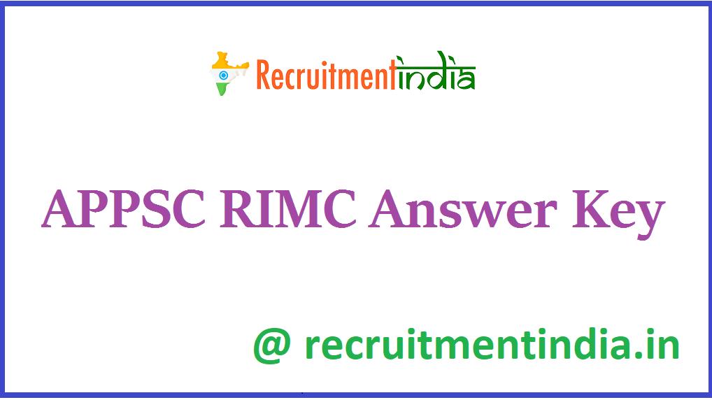 APPSC RIMC Answer Key