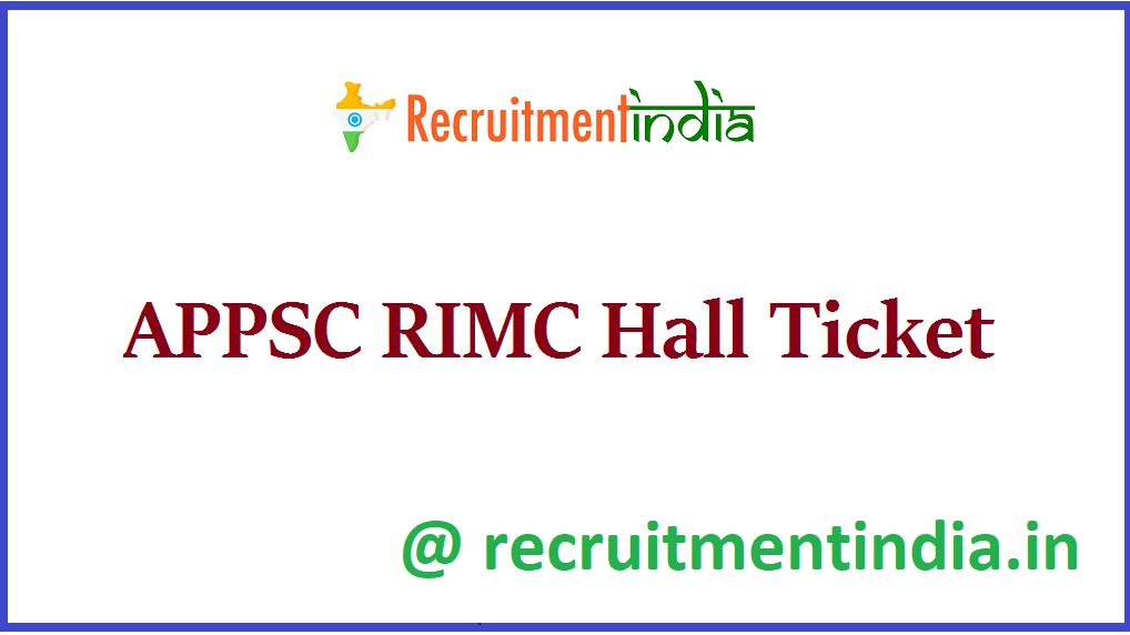 APPSC RIMC Hall Ticket