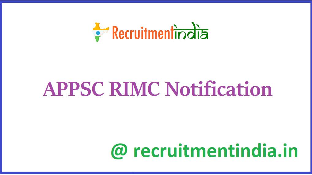 APPSC RIMC Notification