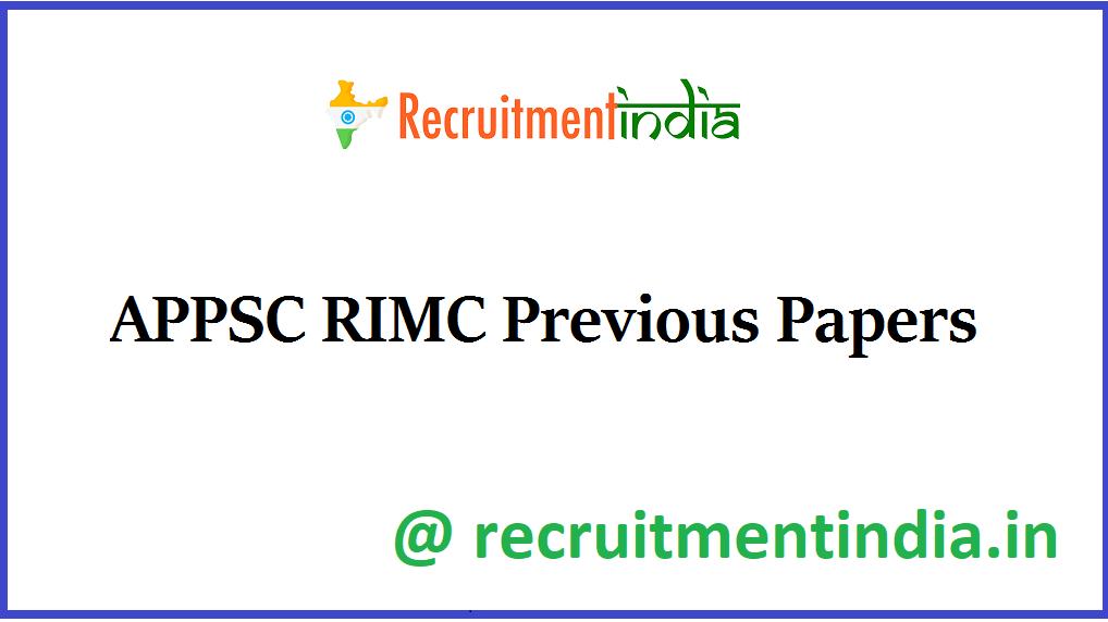 APPSC RIMC Previous Papers