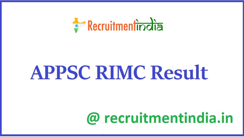 APPSC RIMC Result