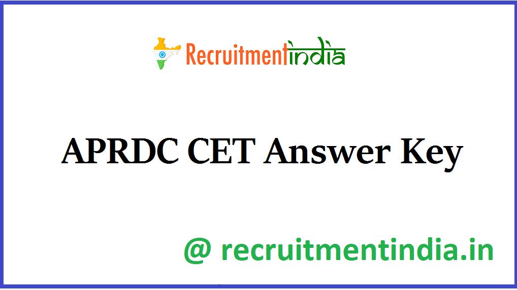 APRDC CET Answer Key