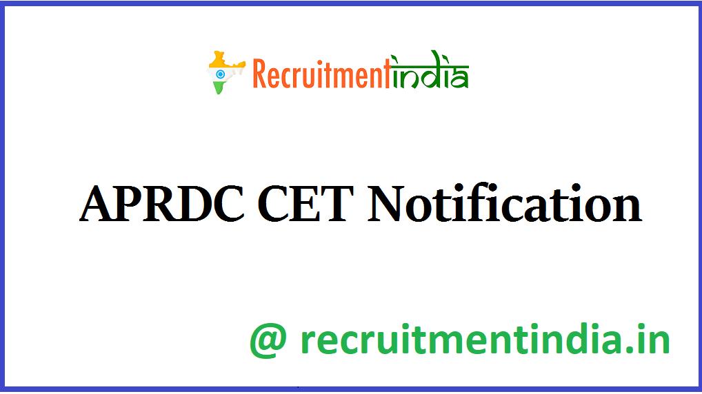 APRDC CET Notification