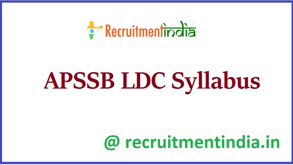 APSSB LDC Syllabus