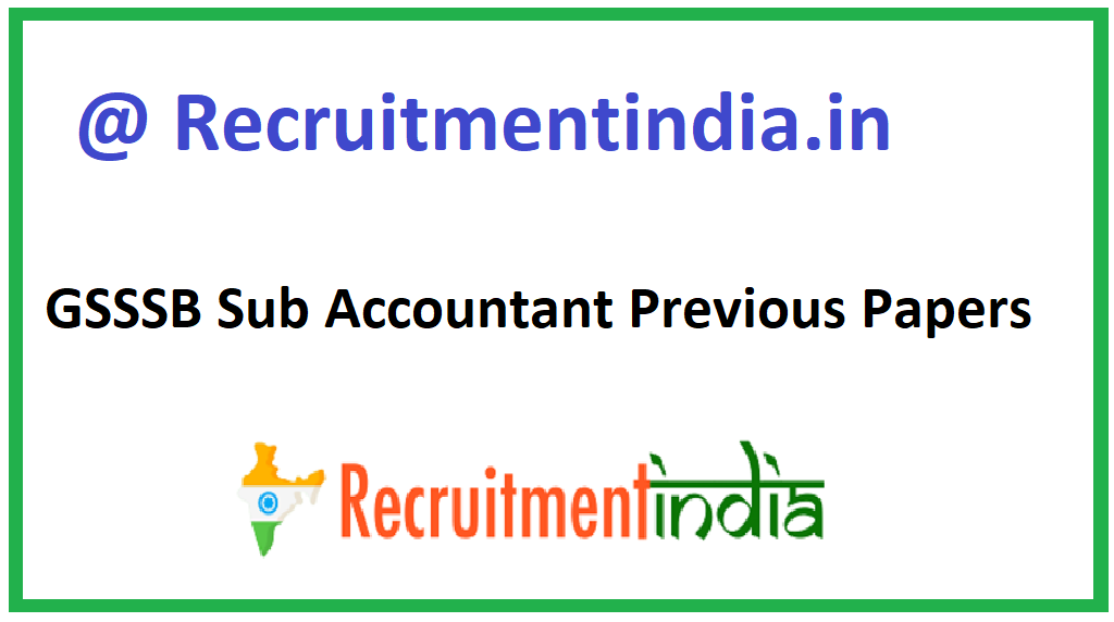 GSSSB Sub Accountant Previous Papers