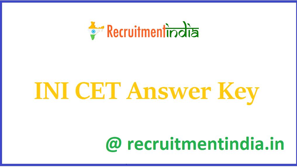 INI CET Answer Key