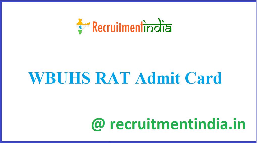 WBUHS RAT Admit Card