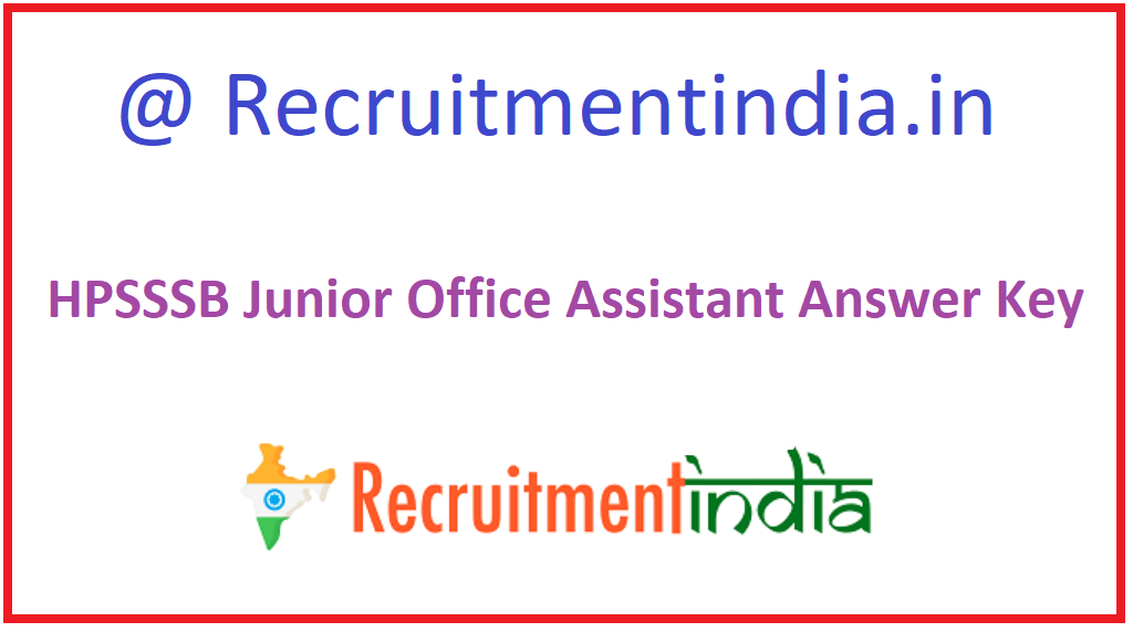 HPSSSB Junior Office Assistant Answer Key