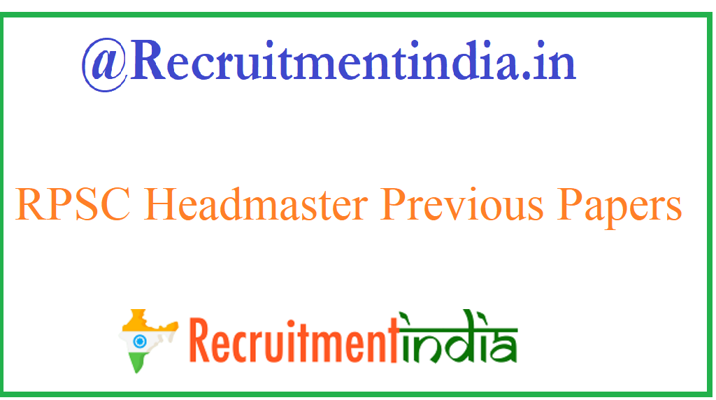 RPSC Headmaster Previous Papers