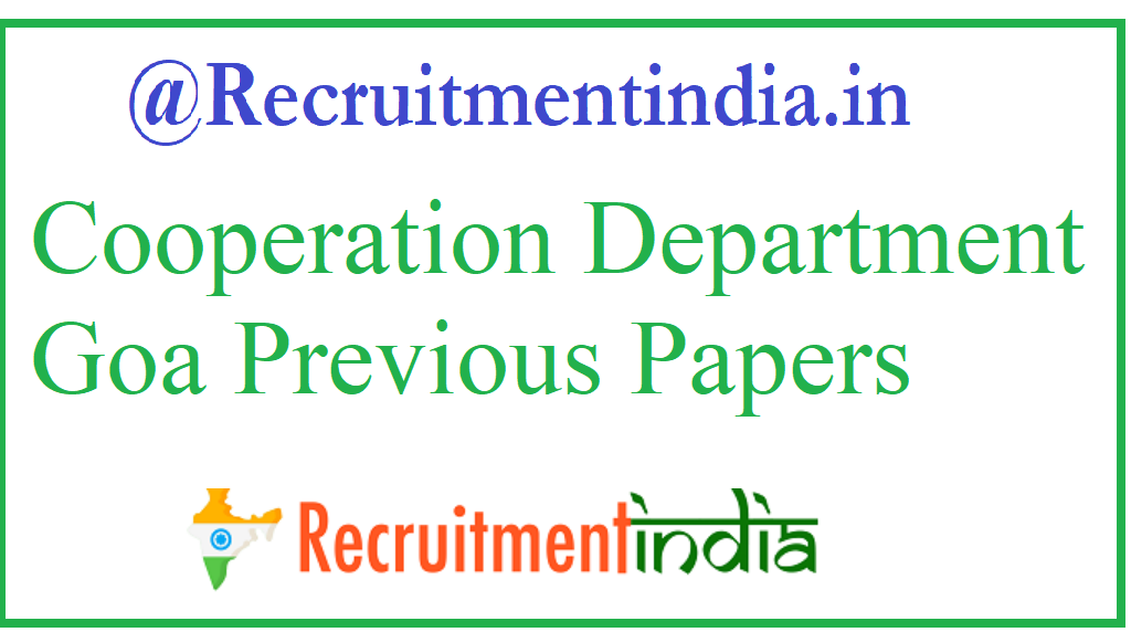 Cooperation Department Goa Previous Papers