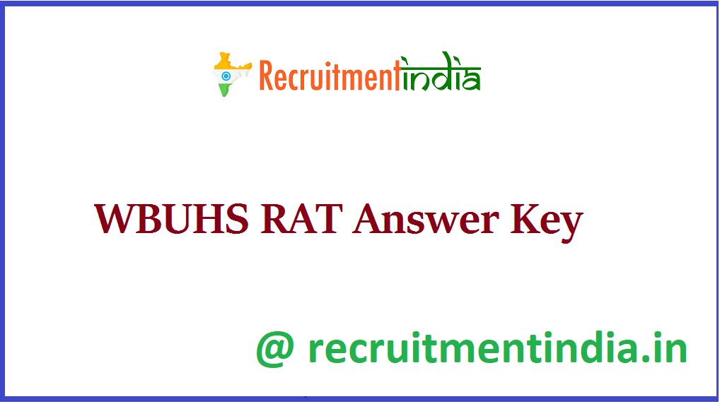 WBUHS RAT Answer Key