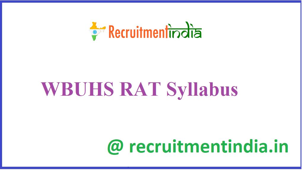 WBUHS RAT Syllabus