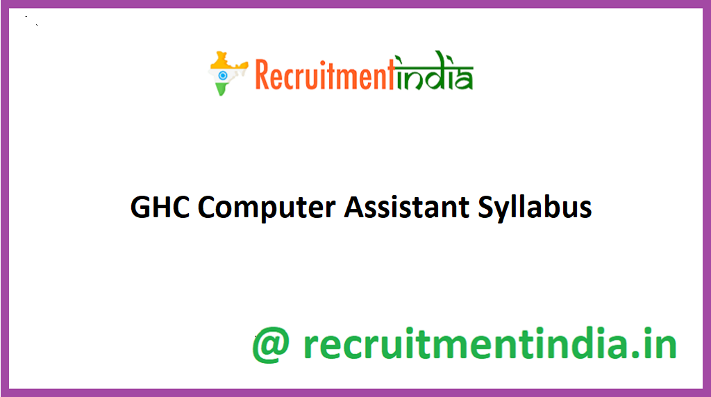 GHC Computer Assistant Syllabus