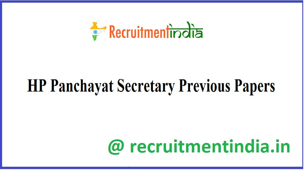 HP Panchayat Secretary Previous Papers